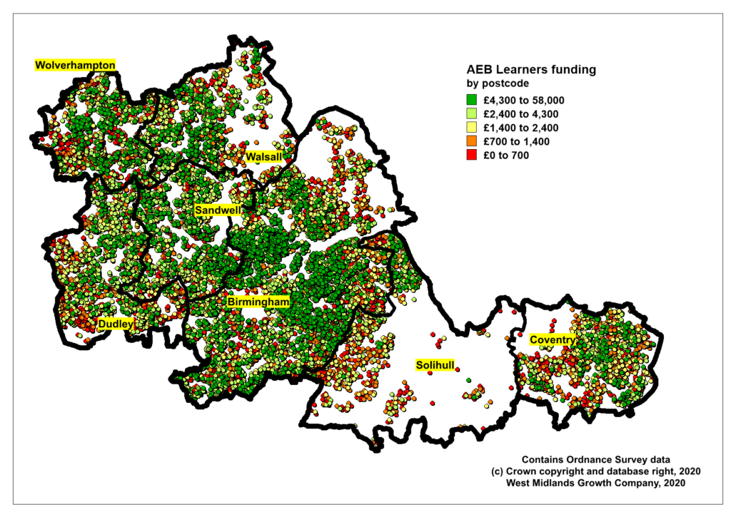 Map showing AEB spend by Postcode