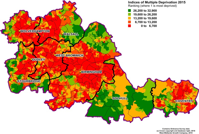 Heatmap showing ranking of deprivation by output area