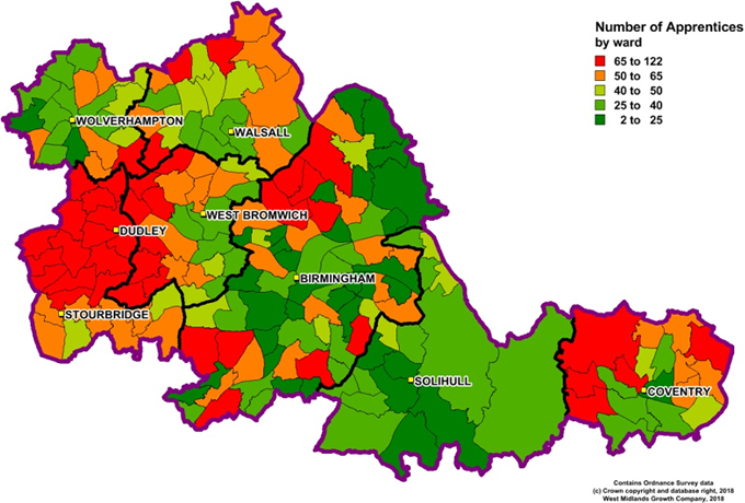 Heatmap showing number of Apprenticeship learners by ward